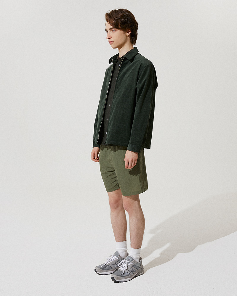 Corduroy Zip Jacket in Green - Side Image