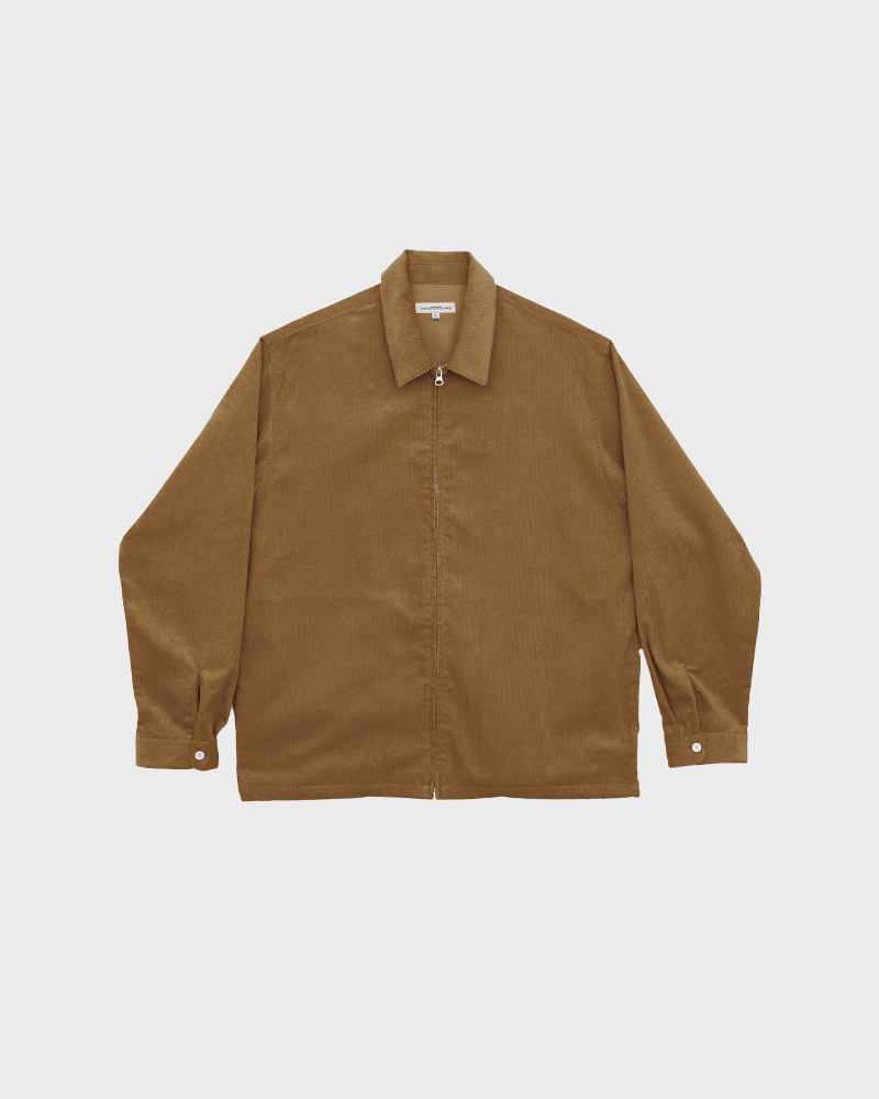 Corduroy Zip Jacket in Tan - Pack Shot