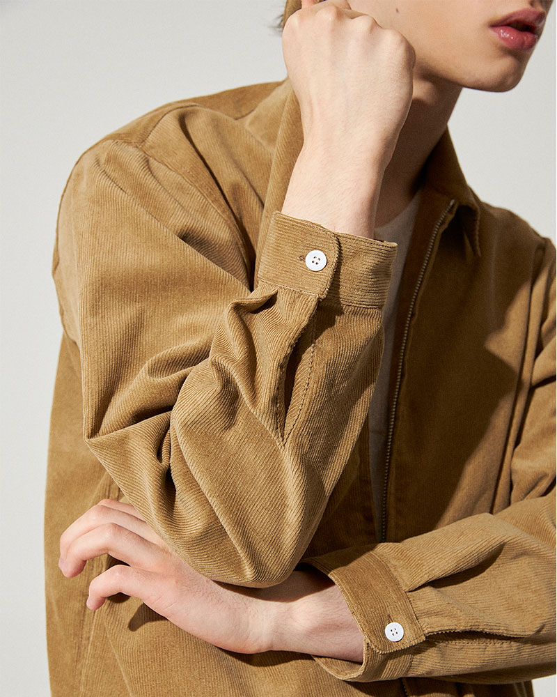 Corduroy Zip Jacket in Tan - Buttoned Cuffs Detail