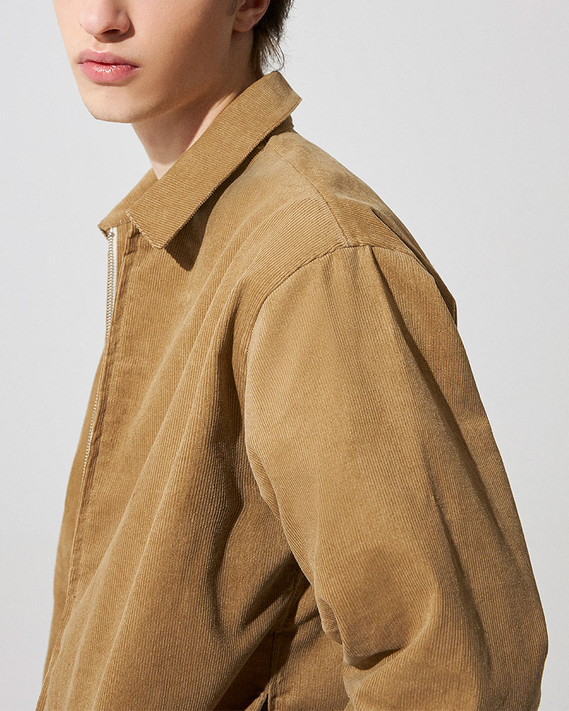 Corduroy Zip Jacket in Tan - Collar Detail