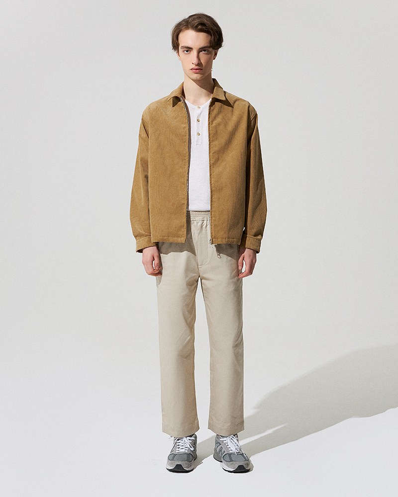 Corduroy Zip Jacket in Tan - Front Image