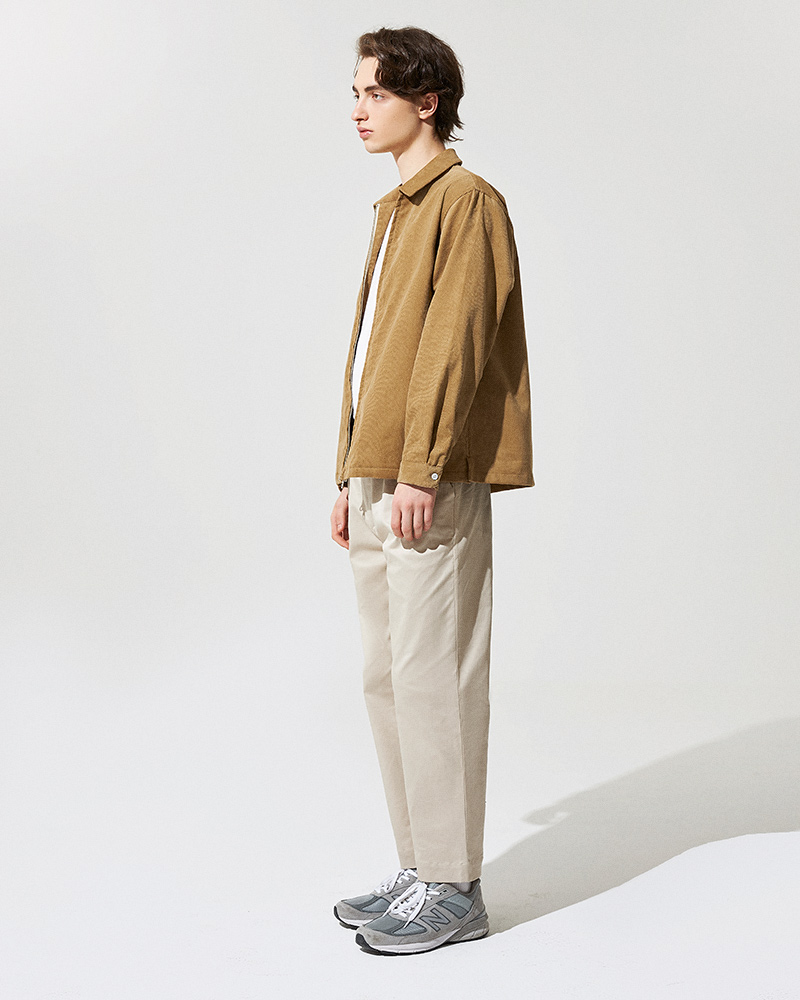 Corduroy Zip Jacket in Tan - Side Image