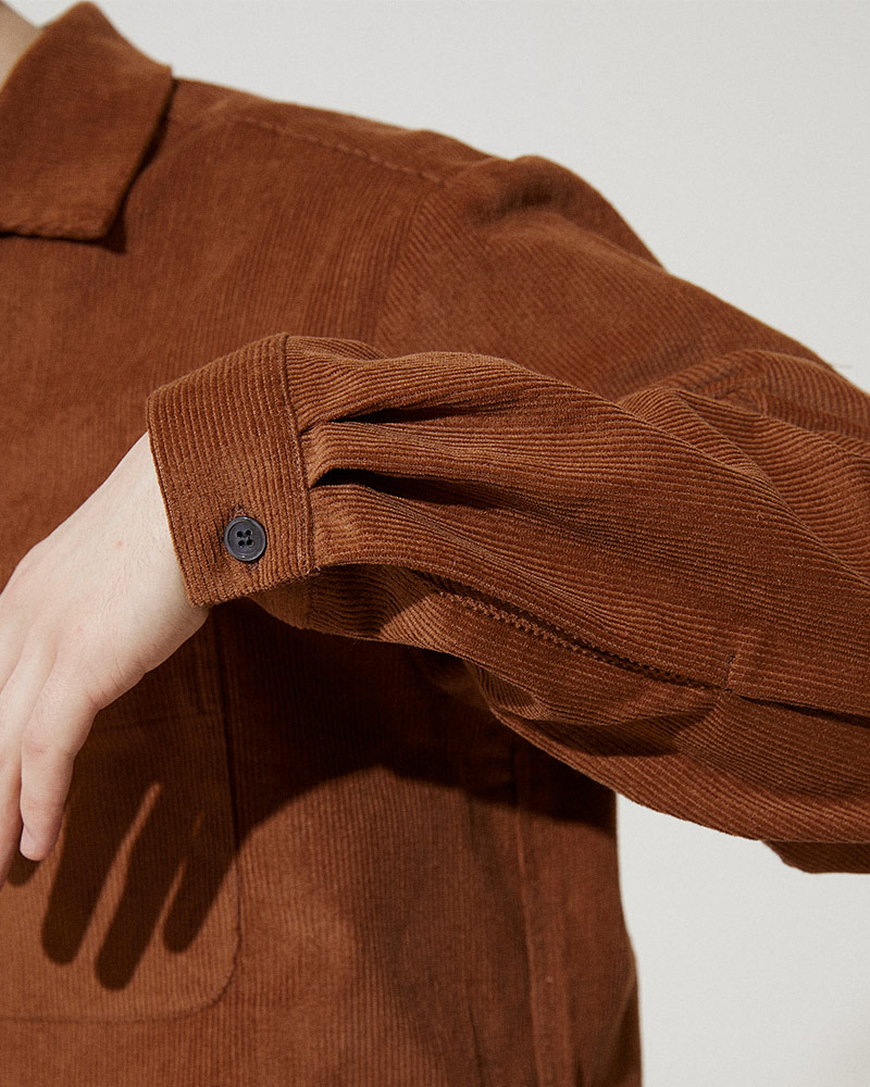 Corduroy Shirt Jacket in Brick - Cuffs Detail