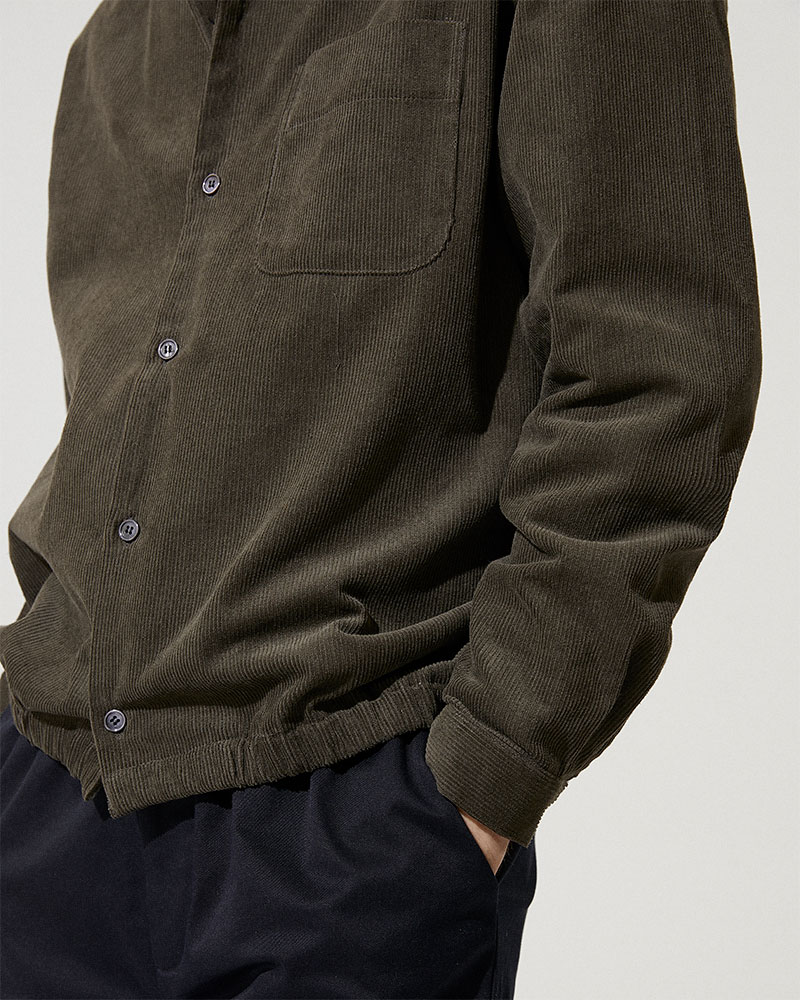 Corduroy Shirt Jacket in Military Green - Elasticated Hem Detail