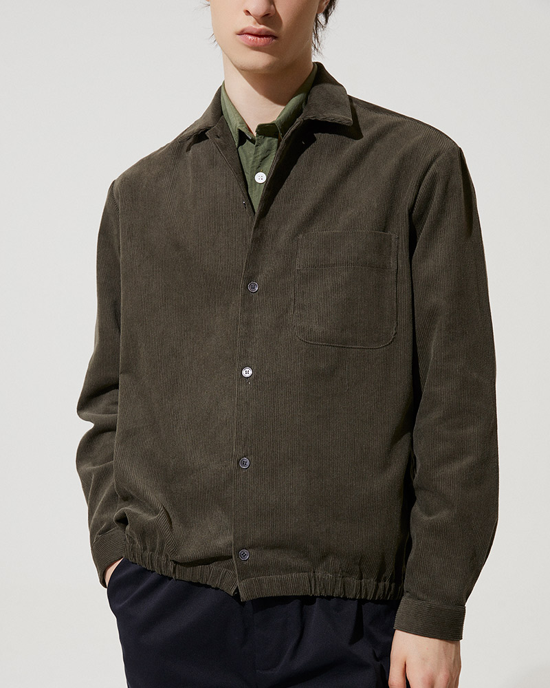 Corduroy Shirt Jacket in Military Green - Fabric Detail