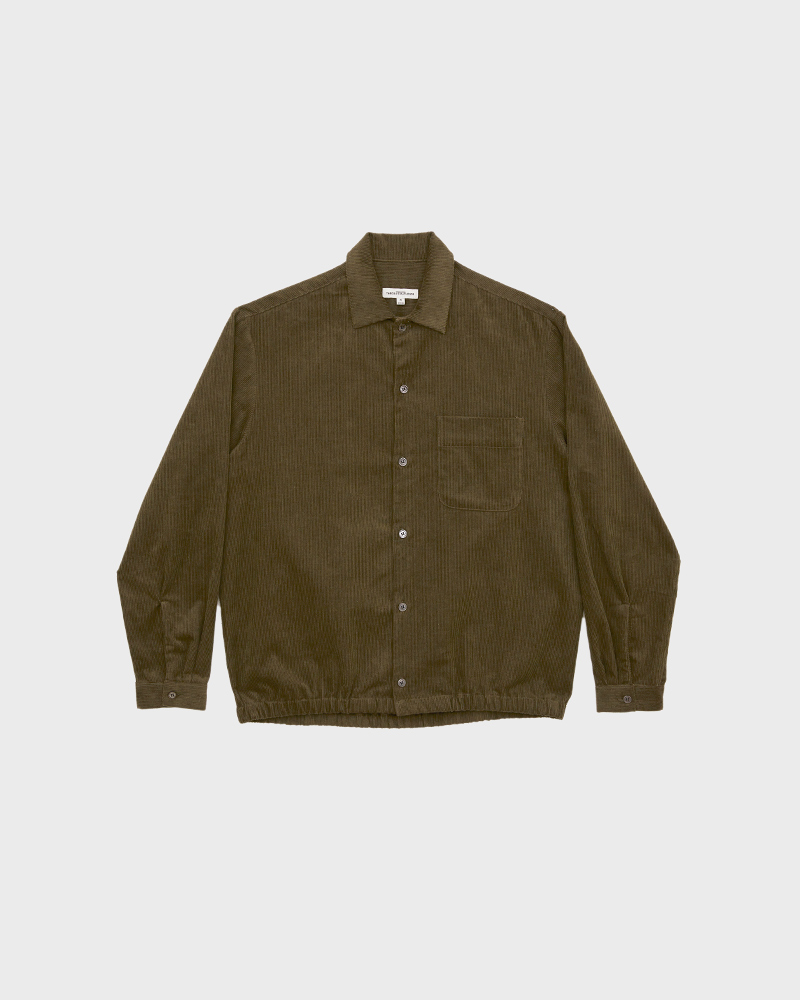 Corduroy Shirt Jacket in Military Green - Pack Shot