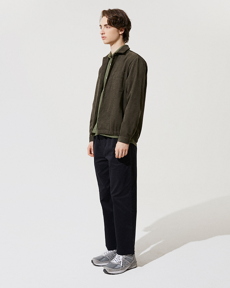 Corduroy Shirt Jacket in Military Green - Side Image