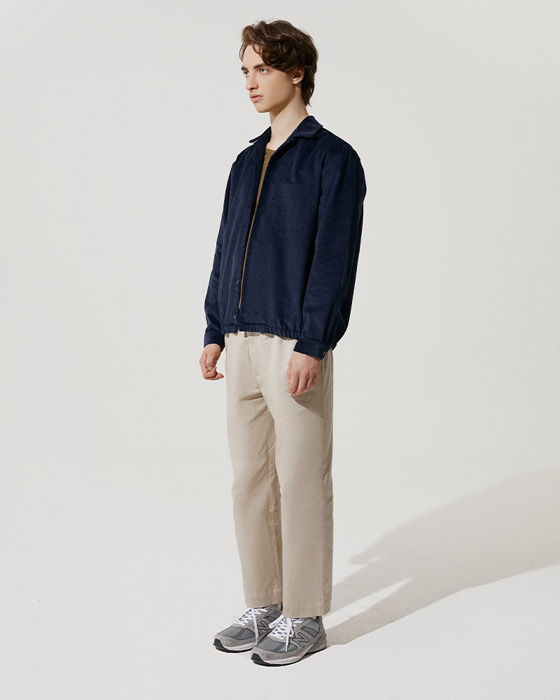 Corduroy Shirt Jacket in Navy - Side Image