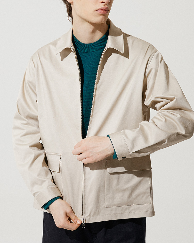 Cotton-Twill Zip Jacket in Beige - 2 Ways Zip Detail