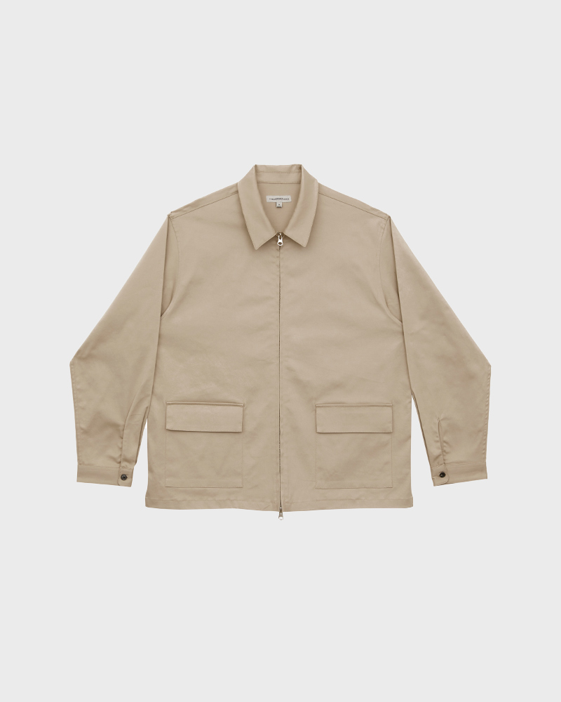 Cotton-Twill Zip Jacket in Beige - Pack Shot
