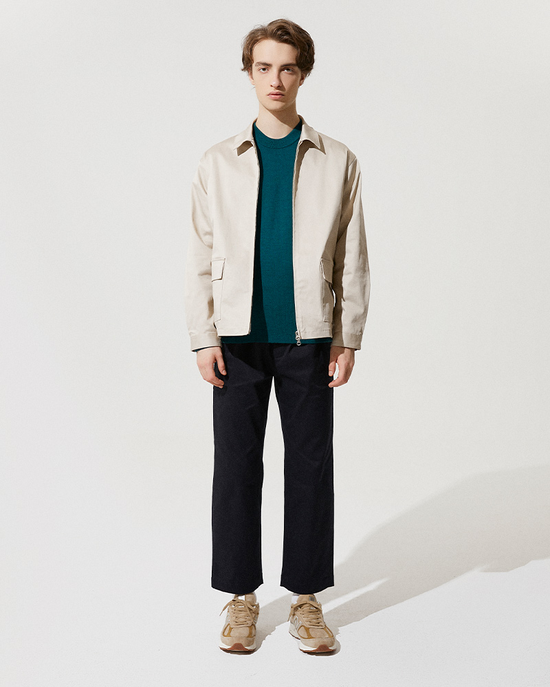 Cotton-Twill Zip Jacket in Beige
