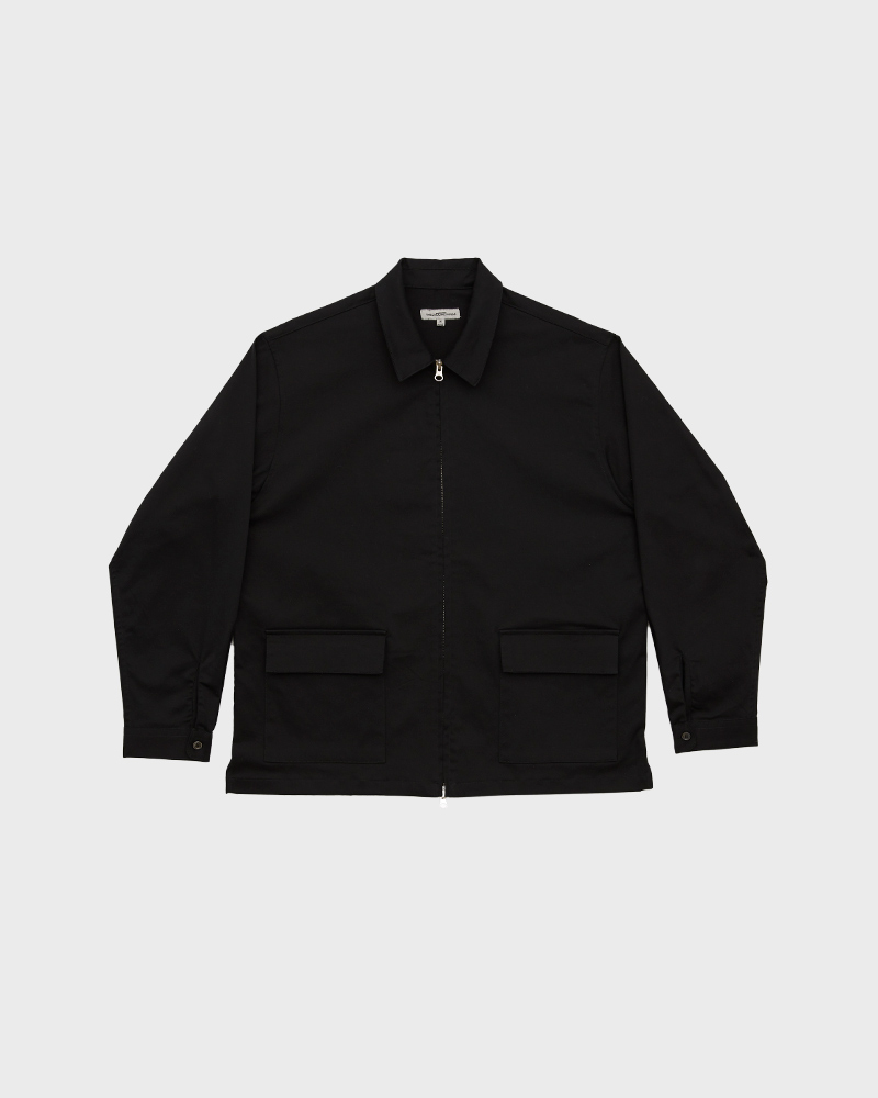 Cotton-Twill Zip Jacket in Black - Pack Shot