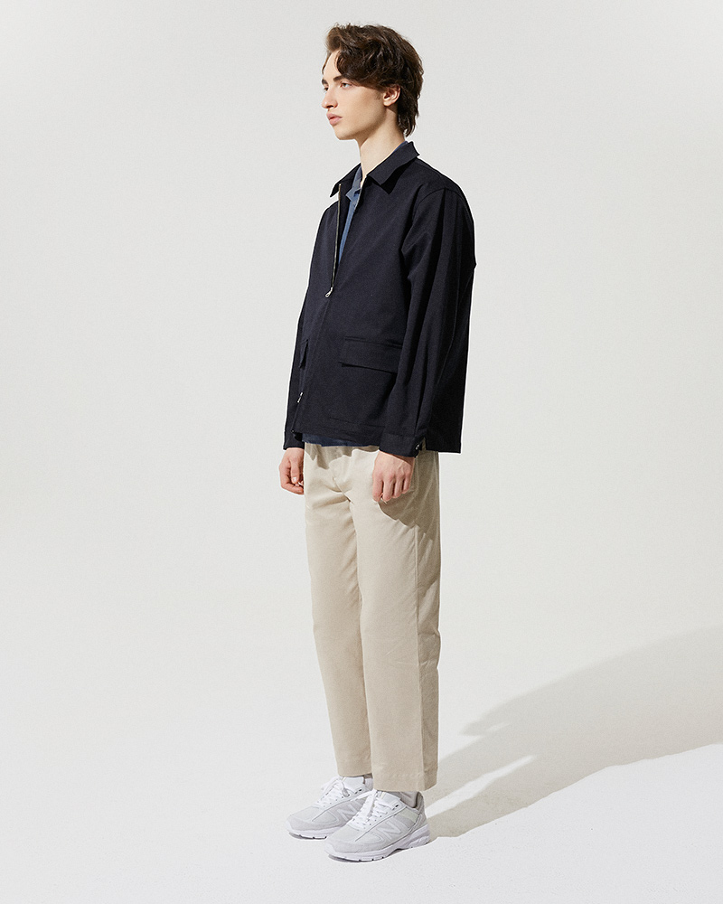 Cotton-Twill Zip Jacket in Black - Side