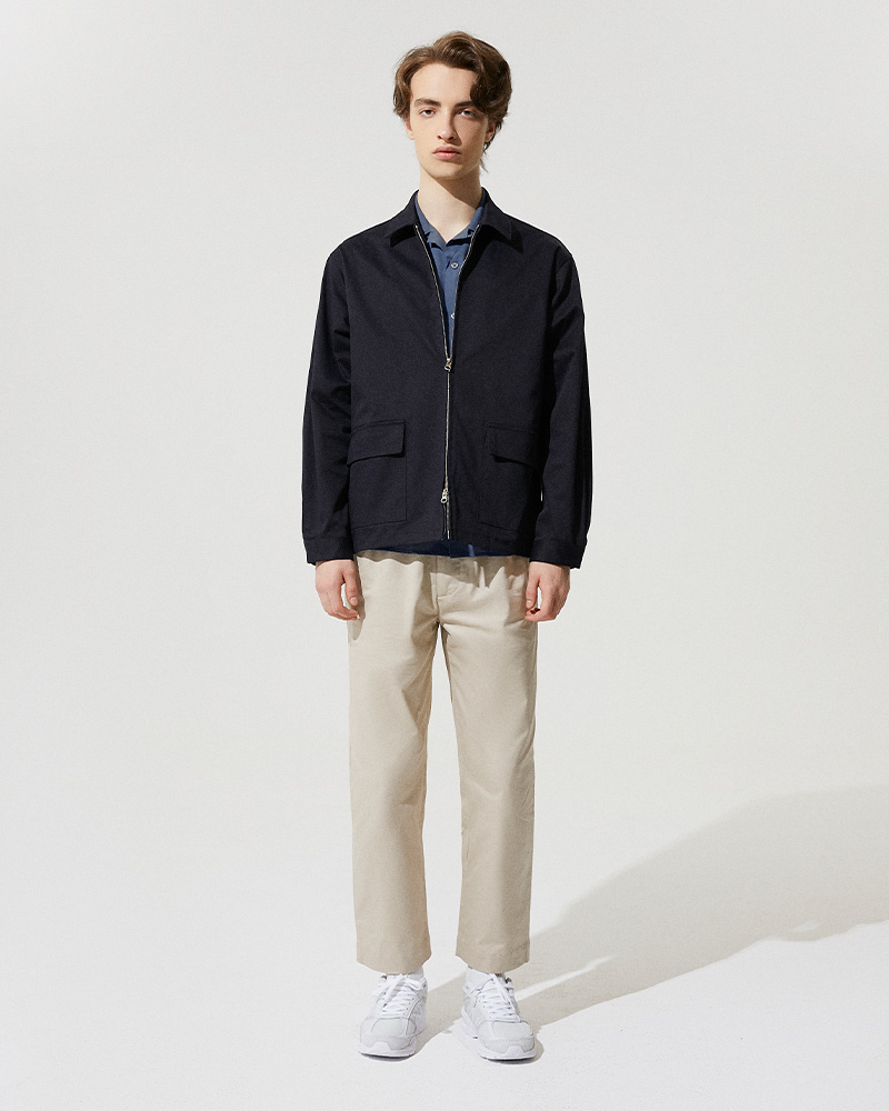 Cotton-Twill Zip Jacket in Black