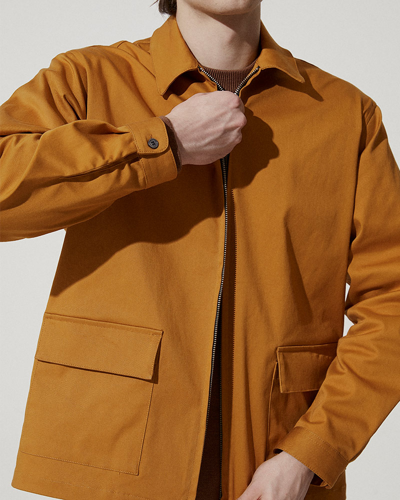 Cotton-Twill Zip Jacket in Mustard - 2 Ways Zip Detail