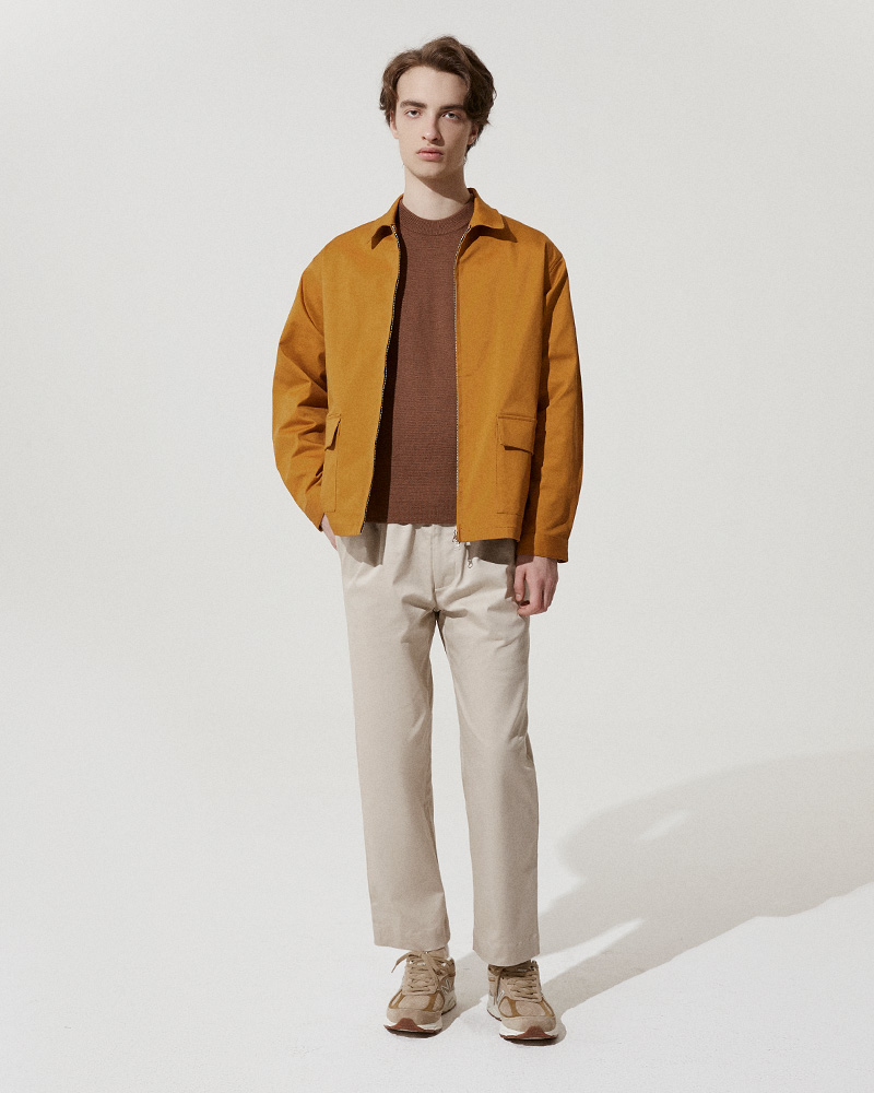 Cotton-Twill Zip Jacket in Mustard - 2