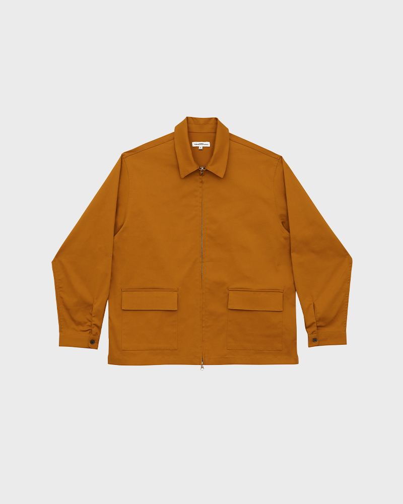 Cotton-Twill Zip Jacket in Mustard - Pack Shot