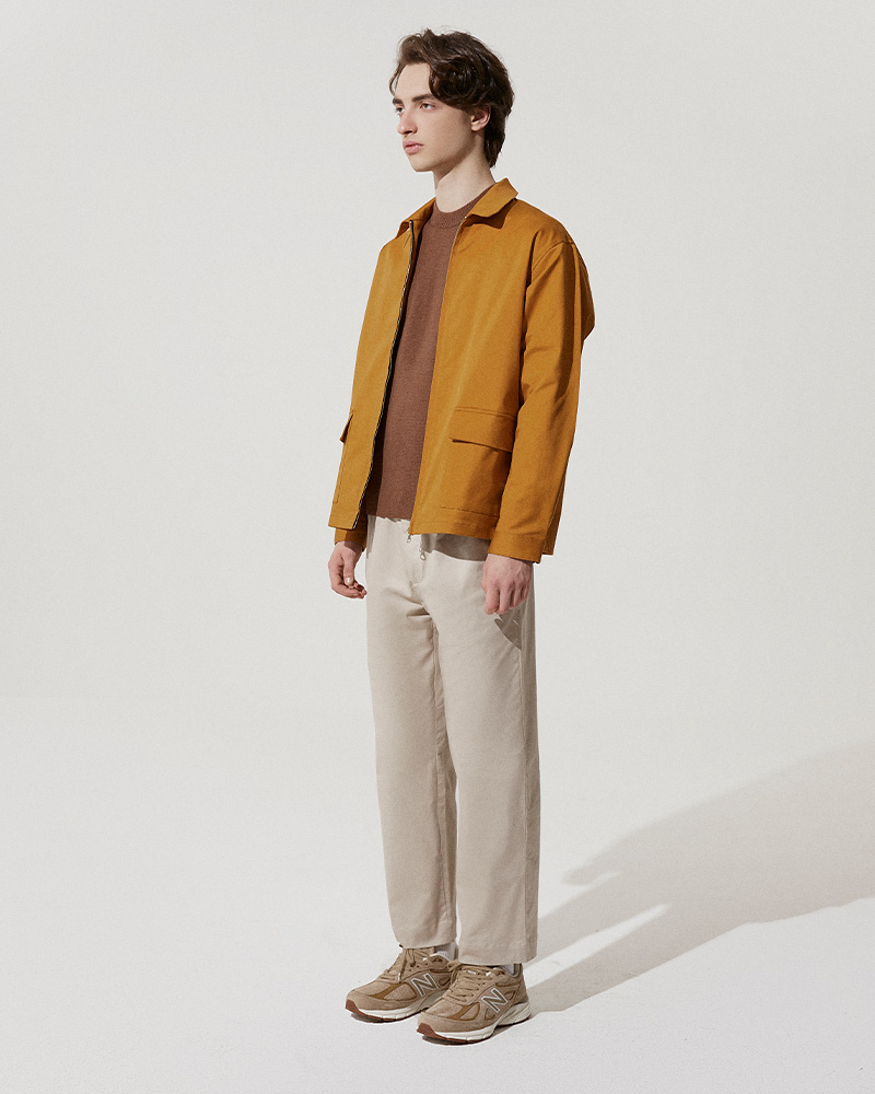 Cotton-Twill Zip Jacket in Mustard - Side