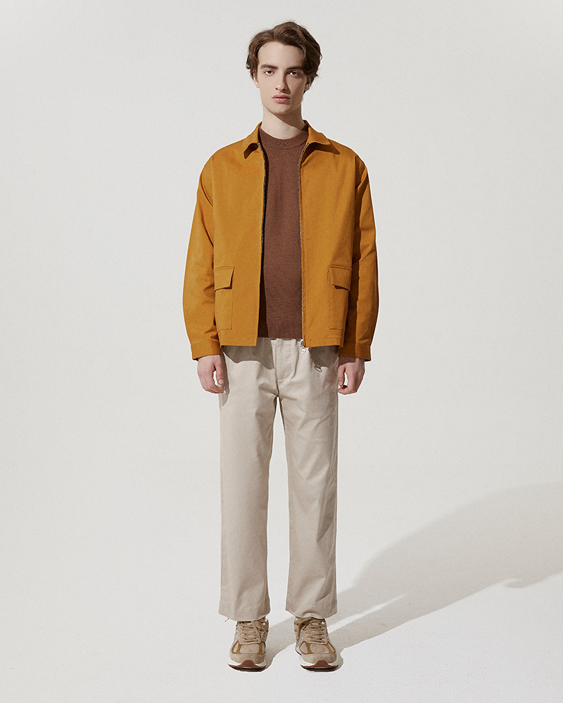 Cotton-Twill Zip Jacket in Mustard