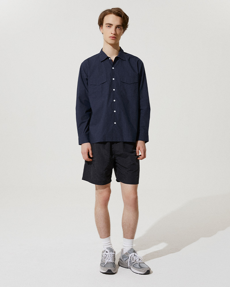 Flap Pockets Overshirt in Navy - Front Image