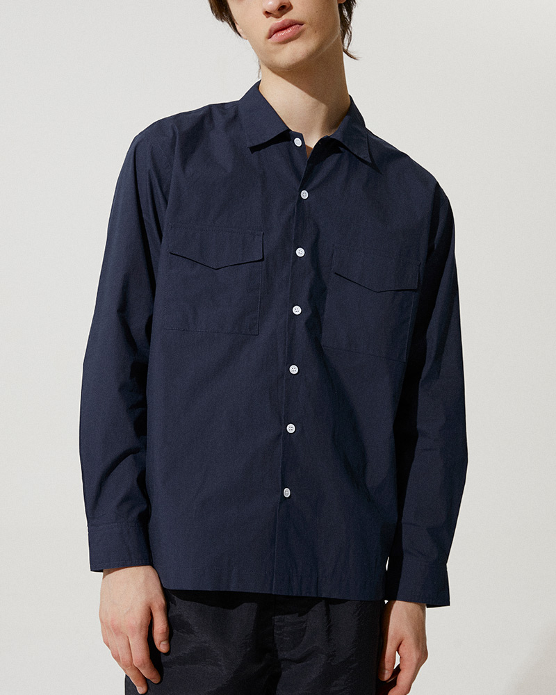 Flap Pockets Overshirt in Navy - Two Flap Pockets Detail