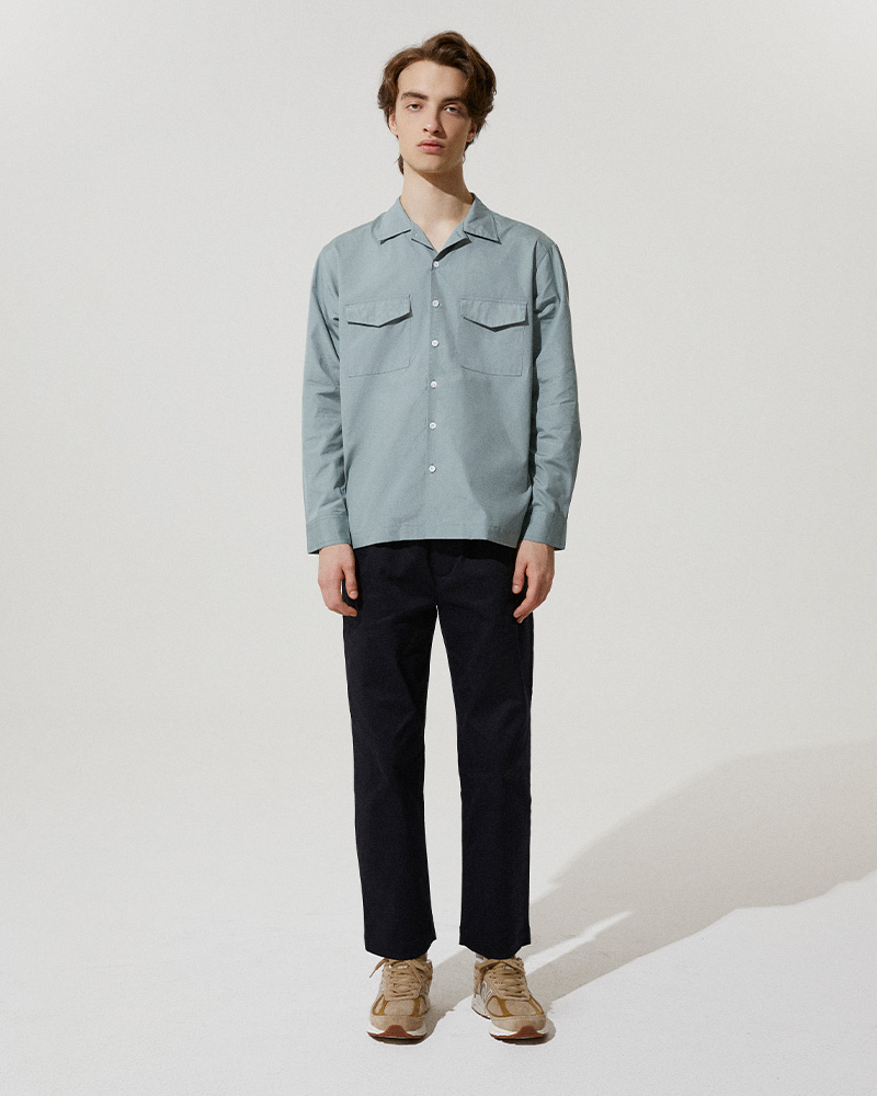Flap Pockets Overshirt in Smoke Blue - Front Image