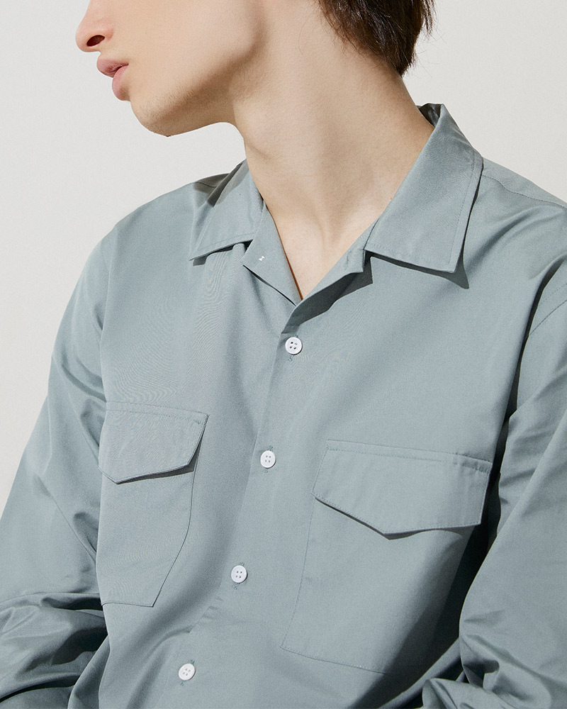 Flap Pockets Overshirt in Smoke Blue - Two Flap Pockets Detail