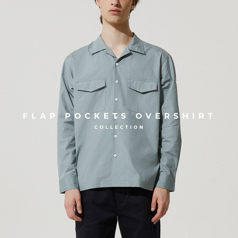 Flap Pockets Overshirt in Smoke Blue - Lookbook Cover