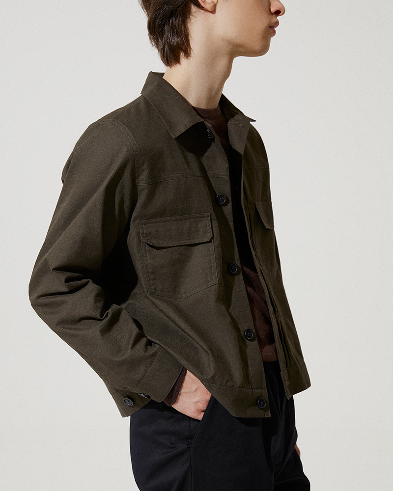 Trucker Jacket Version 2 in Military Green - Two Chest Pockets Detail
