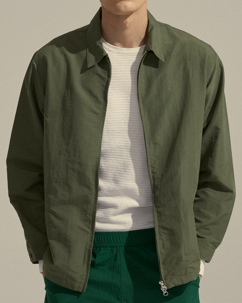 Nylon Zip Jacket in Miliatary Green - Fabric Details