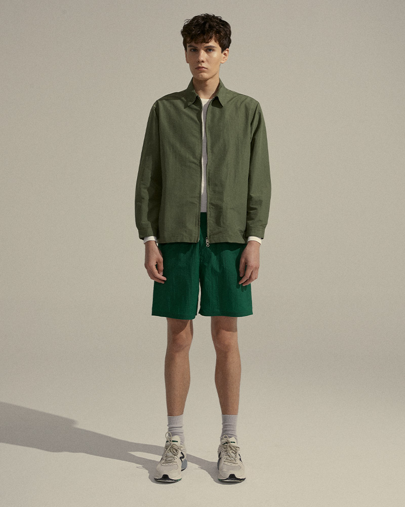 Nylon Zip Jacket in Miliatary Green - Front Images