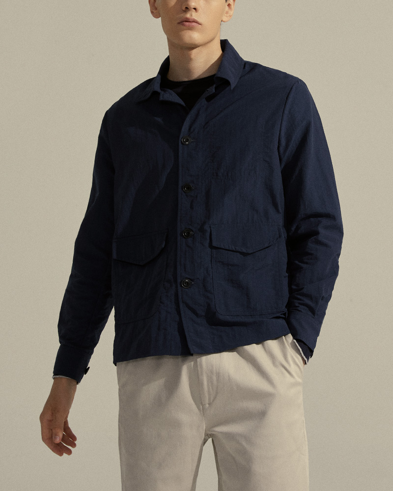 Nylon Utility Jacket in Navy - Front Flap Pockets Detail