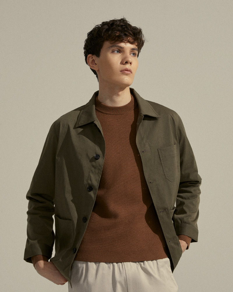 Nylon-Twill Chore Jacket in Military-Green - Front Image