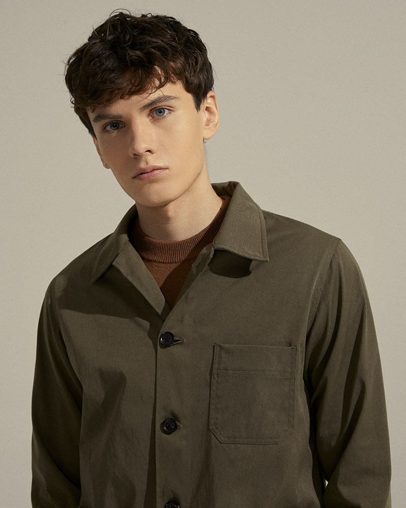 Nylon-Twill Chore Jacket in Military-Green - Front Pocket Detail