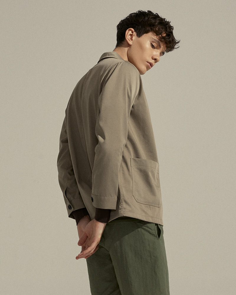 Nylon-Twill Chore Jacket in Tan - Buttoned Cuffs Detail