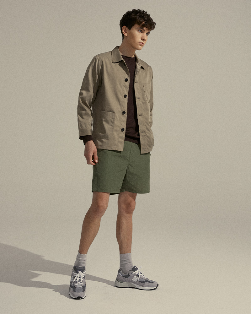 Nylon-Twill Chore Jacket in Tan - Side Image