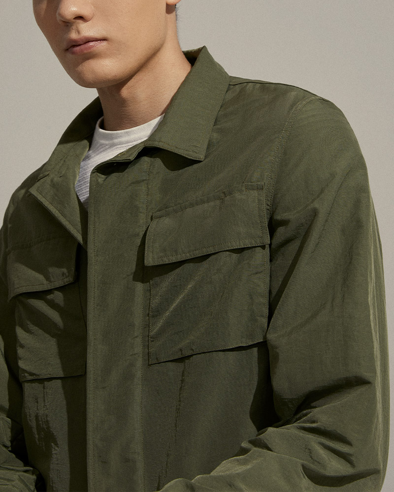 Nylon Work Jacket in Military Green - Flap Pockets Detail