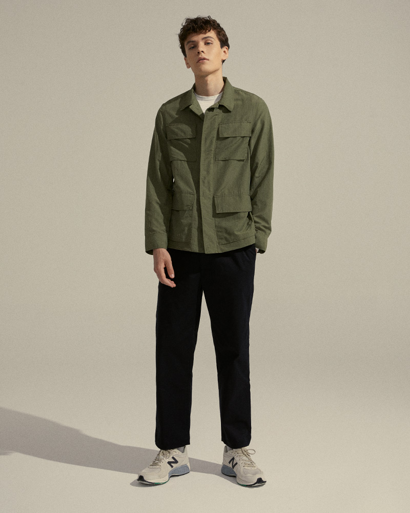 Nylon Work Jacket in Military Green - Front Image