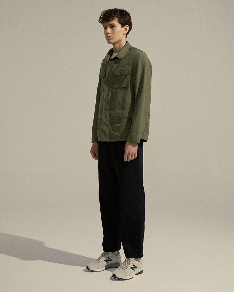 Nylon Work Jacket in Military Green - Side Image