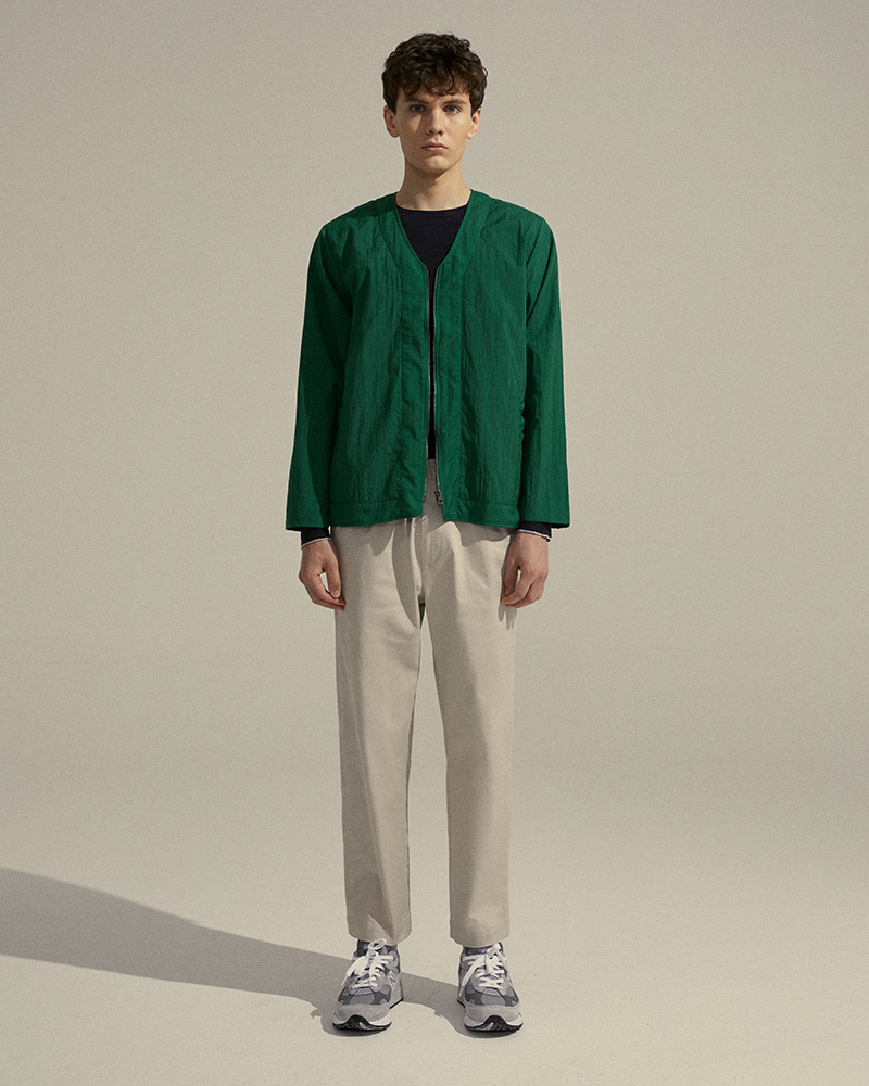 Nylon Zip-Up Cardigan in Green - Front Image