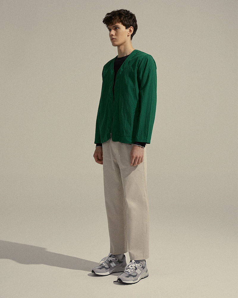 Nylon Zip-Up Cardigan in Green - Side Image