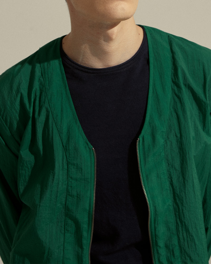 Nylon Zip-Up Cardigan in Green - Zipper Detail