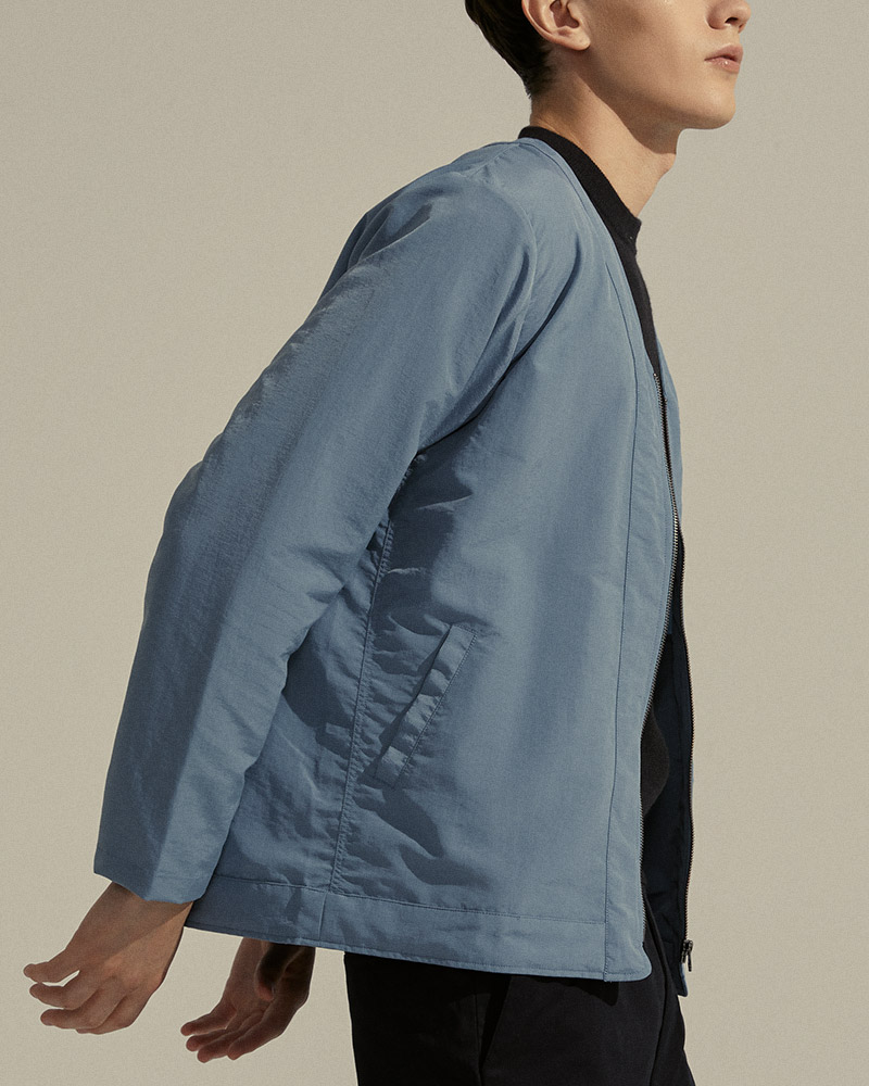 Nylon Zip-Up Cardigan in Light Blue - Side Pockets Detail