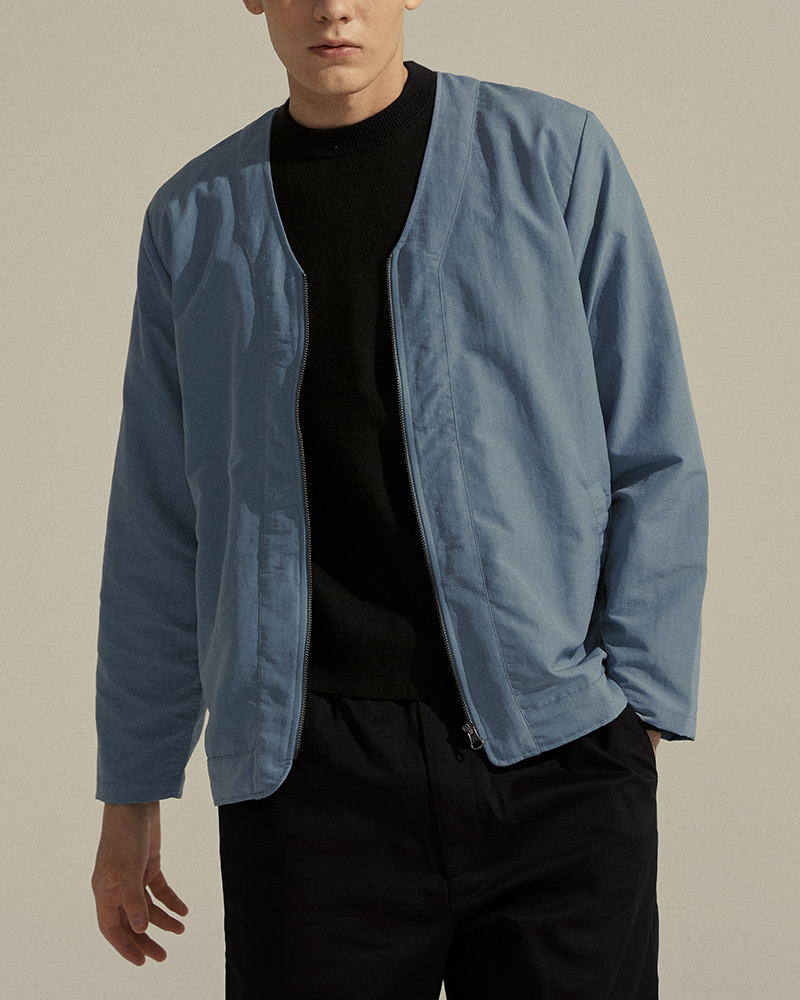 Nylon Zip-Up Cardigan in Light Blue - Zipper Details